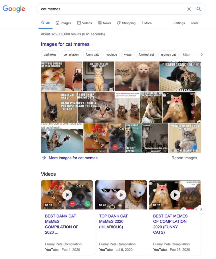 clickable search results example