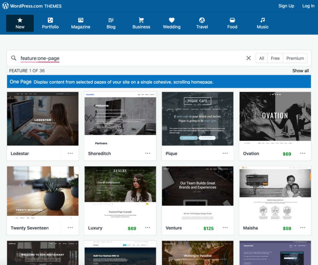 One page WordPress themes example