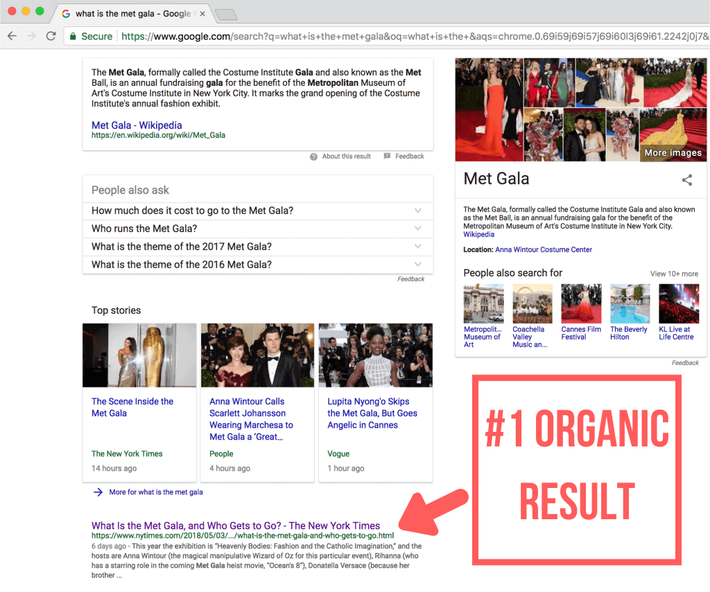 organic results position 1